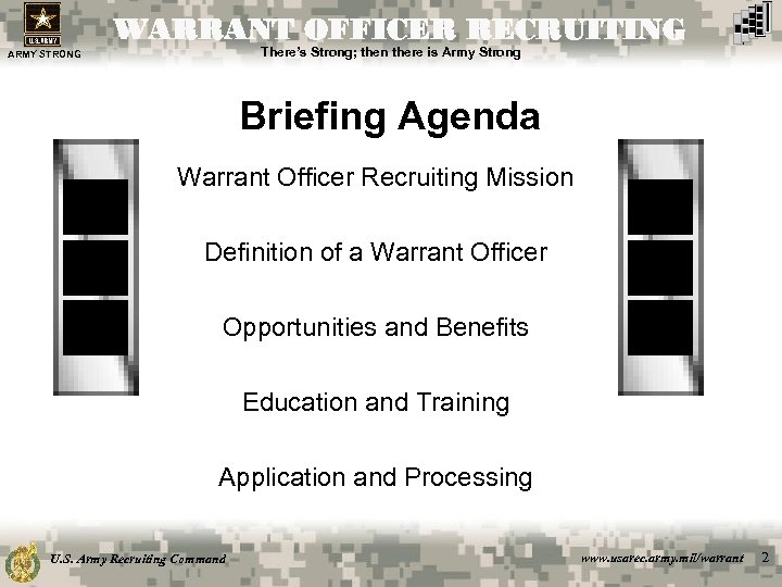 WARRANT OFFICER RECRUITING There's Strong; then there is Army Strong ARMY STRONG Briefing Agenda