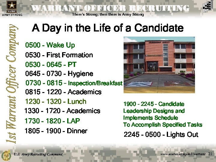 WARRANT OFFICER RECRUITING There's Strong; then there is Army Strong ARMY STRONG A Day