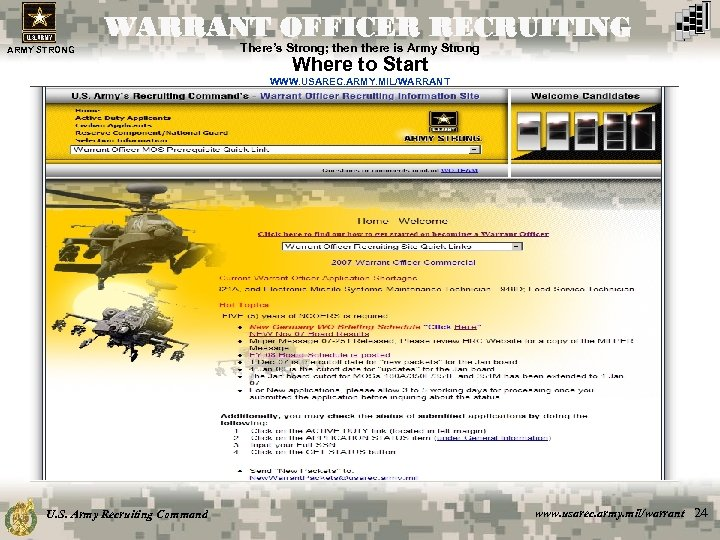 WARRANT OFFICER RECRUITING ARMY STRONG There's Strong; then there is Army Strong Where to