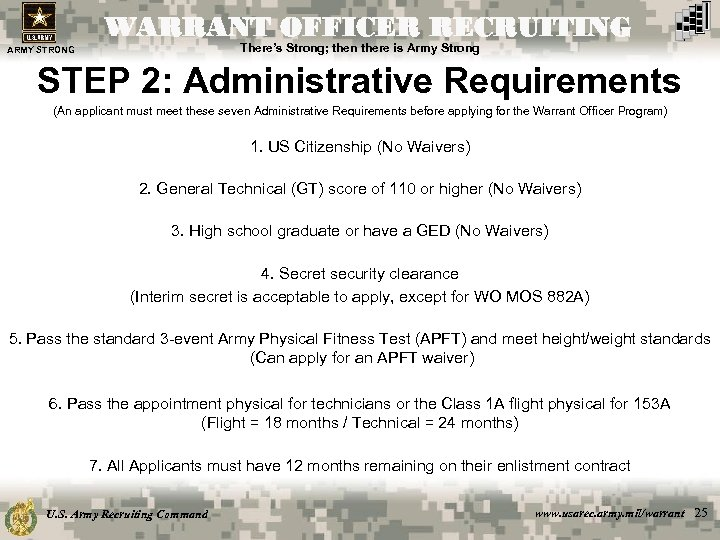 WARRANT OFFICER RECRUITING There's Strong; then there is Army Strong ARMY STRONG STEP 2: