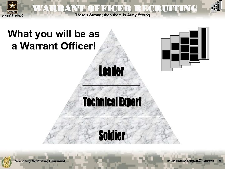 WARRANT OFFICER RECRUITING ARMY STRONG There's Strong; then there is Army Strong What you