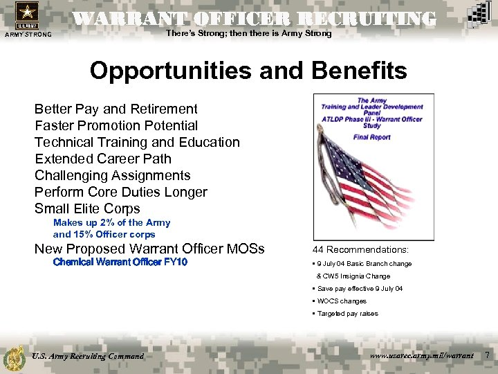 WARRANT OFFICER RECRUITING There's Strong; then there is Army Strong ARMY STRONG Opportunities and