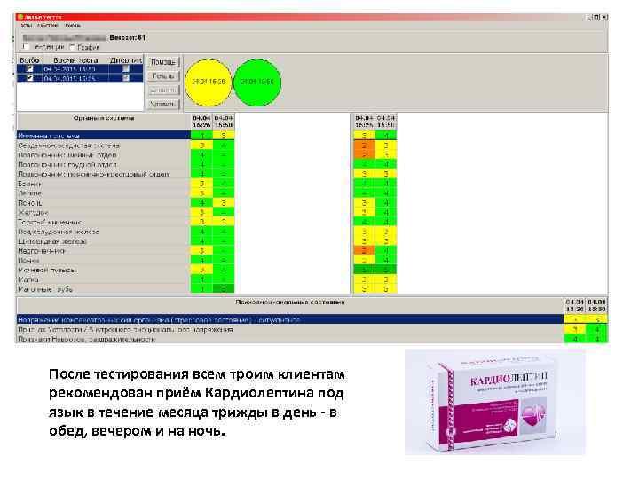 После тестирования всем троим клиентам рекомендован приём Кардиолептина под язык в течение месяца трижды