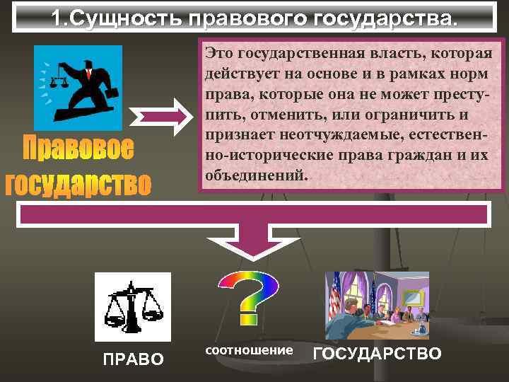 1. Сущность правового государства. Это государственная власть, которая действует на основе и в рамках