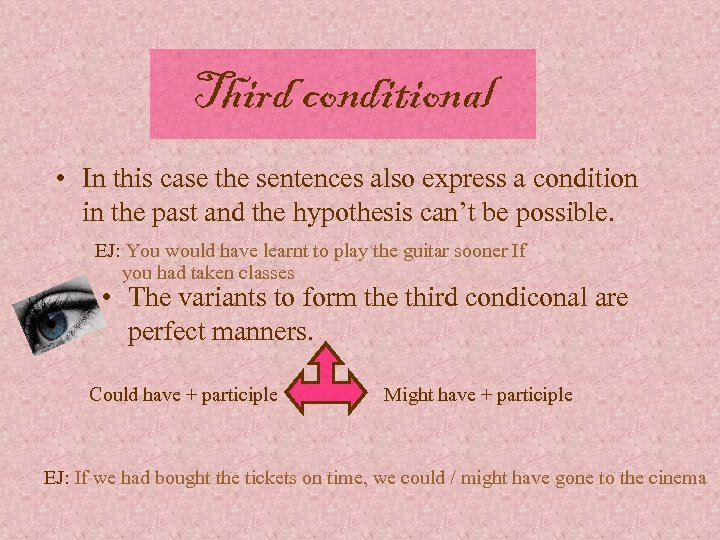Third conditional • In this case the sentences also express a condition in the