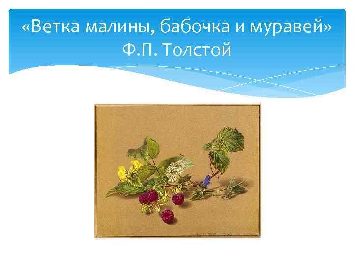 «Ветка малины, бабочка и муравей» Ф. П. Толстой