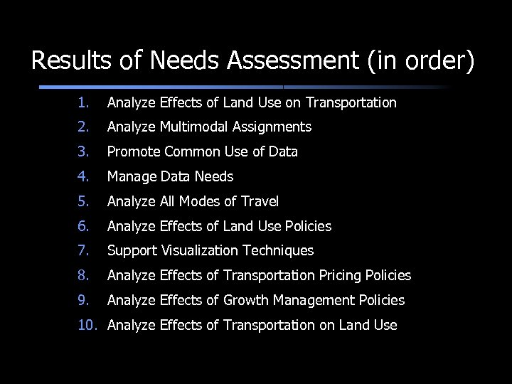Results of Needs Assessment (in order) 1. Analyze Effects of Land Use on Transportation