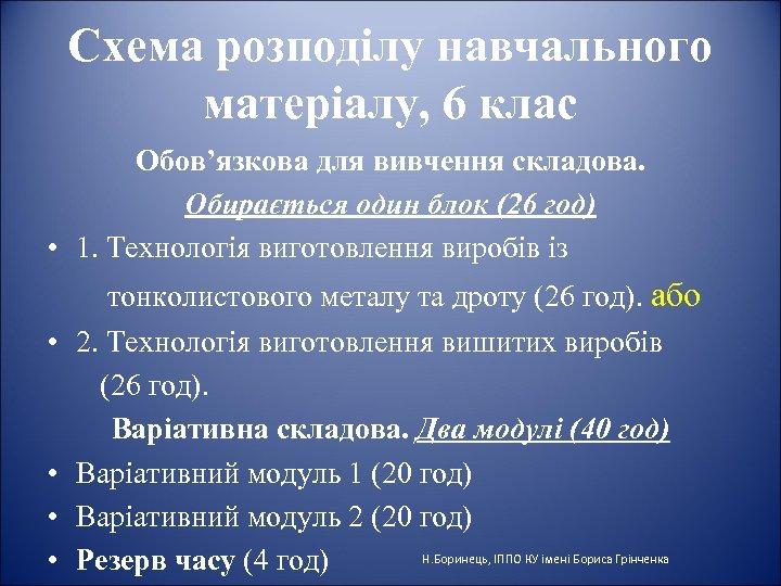 Схема розподілу навчального матеріалу, 6 клас Обов'язкова для вивчення складова. Обирається один блок (26
