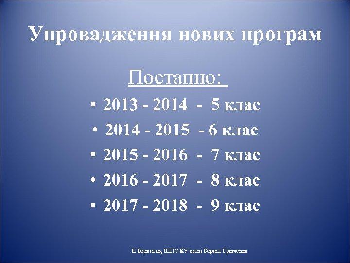 Упровадження нових програм Поетапно: • 2013 - 2014 • 2014 - 2015 • 2015