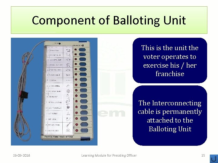 Component of Balloting Unit This is the unit the voter operates to exercise his