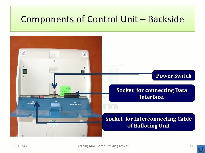 Components of Control Unit – Backside Power Switch Socket for connecting Data Interface. Socket