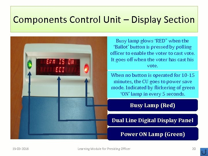 """Components Control Unit – Display Section Busy lamp glows 'RED"""" when the 'Ballot' button"""