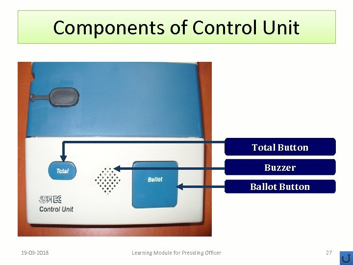 Components of Control Unit Total Button Buzzer Ballot Button 19 -03 -2018 Learning Module