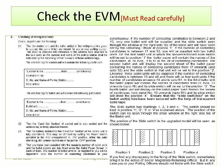 Check the EVM[Must Read carefully] 19 -03 -2018 Learning Module for Presiding Officer 29