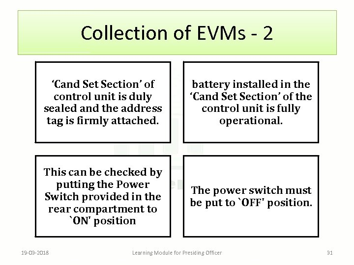 Collection of EVMs - 2 'Cand Set Section' of control unit is duly sealed