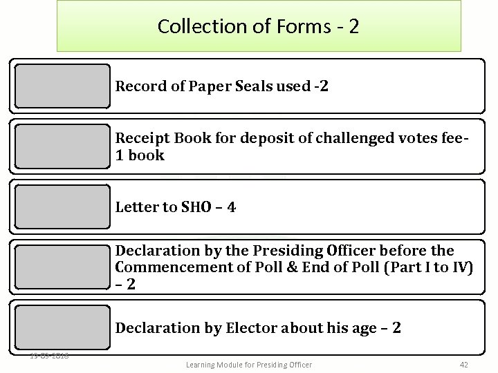 Collection of Forms - 2 Record of Paper Seals used -2 Receipt Book for