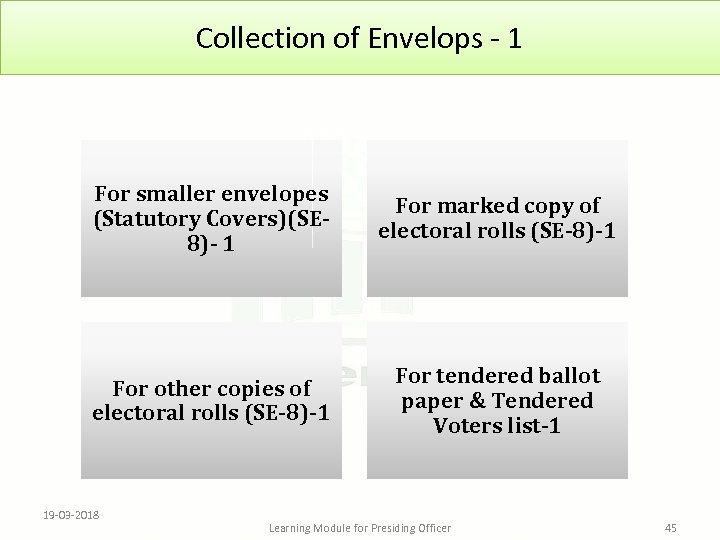 Collection of Envelops - 1 For smaller envelopes (Statutory Covers)(SE 8)- 1 For marked