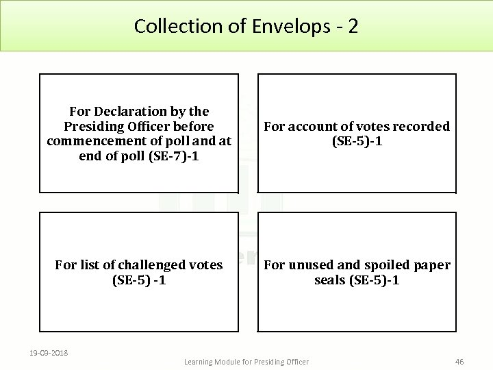 Collection of Envelops - 2 For Declaration by the Presiding Officer before commencement of
