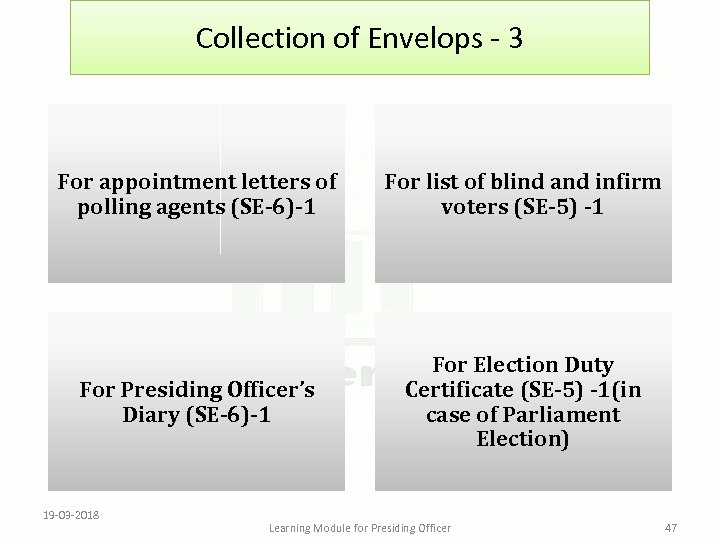 Collection of Envelops - 3 For appointment letters of polling agents (SE-6)-1 For list