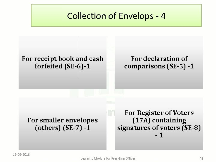 Collection of Envelops - 4 For receipt book and cash forfeited (SE-6)-1 For declaration