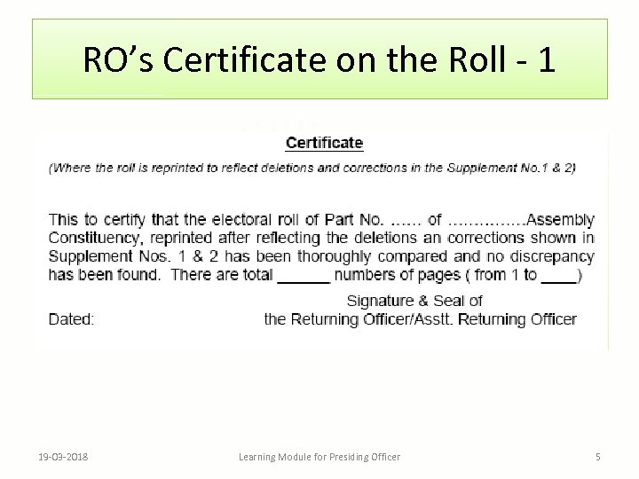 RO's Certificate on the Roll - 1 19 -03 -2018 Learning Module for Presiding