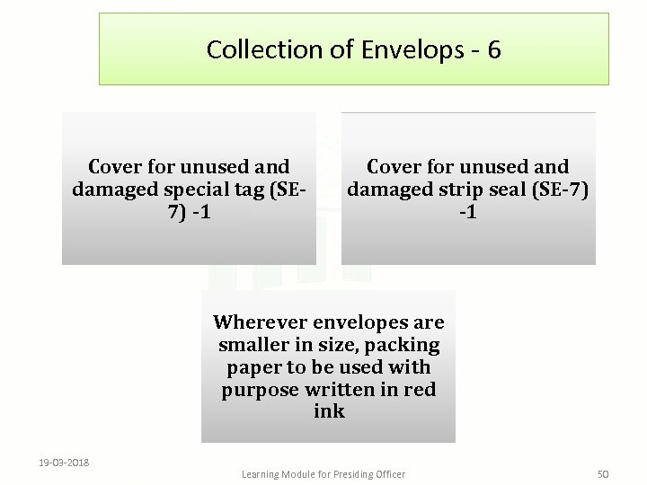 Collection of Envelops - 6 Cover for unused and damaged special tag (SE 7)