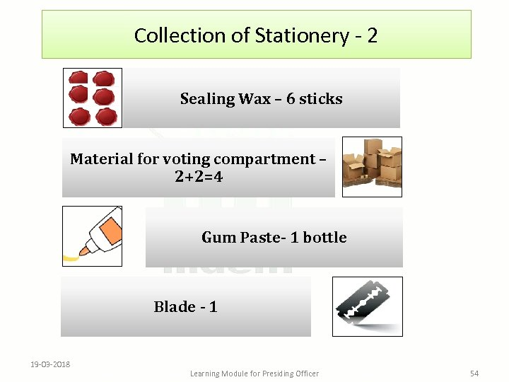 Collection of Stationery - 2 Sealing Wax – 6 sticks Material for voting compartment