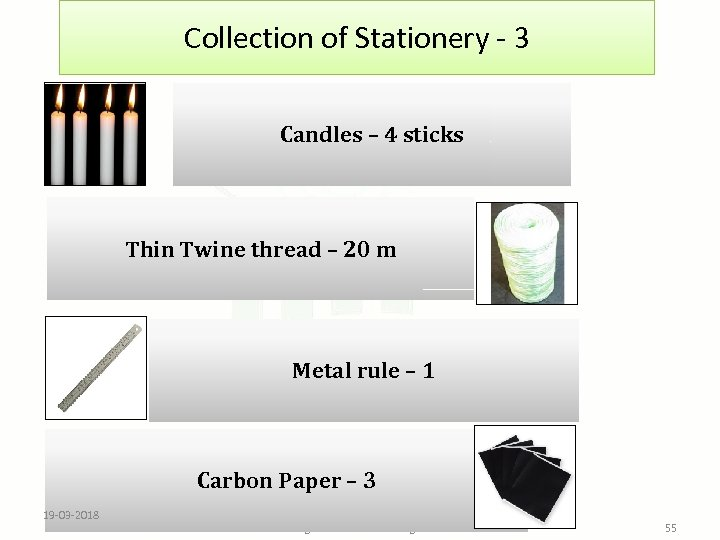 Collection of Stationery - 3 Candles – 4 sticks Thin Twine thread – 20