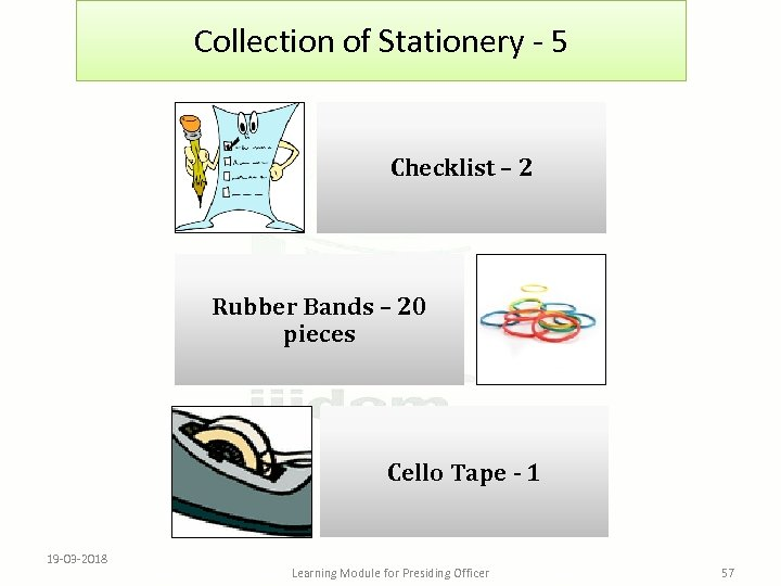 Collection of Stationery - 5 Checklist – 2 Rubber Bands – 20 pieces Cello