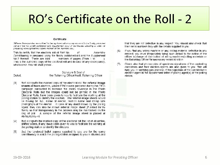 RO's Certificate on the Roll - 2 19 -03 -2018 Learning Module for Presiding