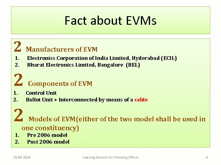 Fact about EVMs 2 Manufacturers of EVM 1. 2. Electronics Corporation of India Limited,