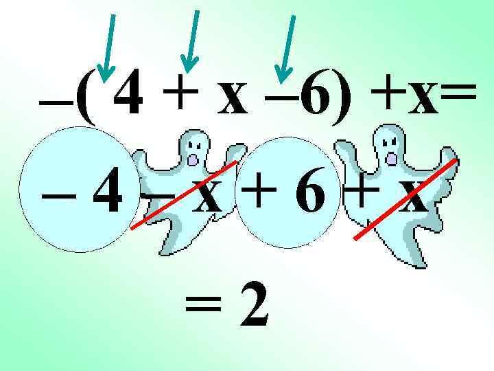 –( 4 + x – 6) +x= – 4–x+6+x =2