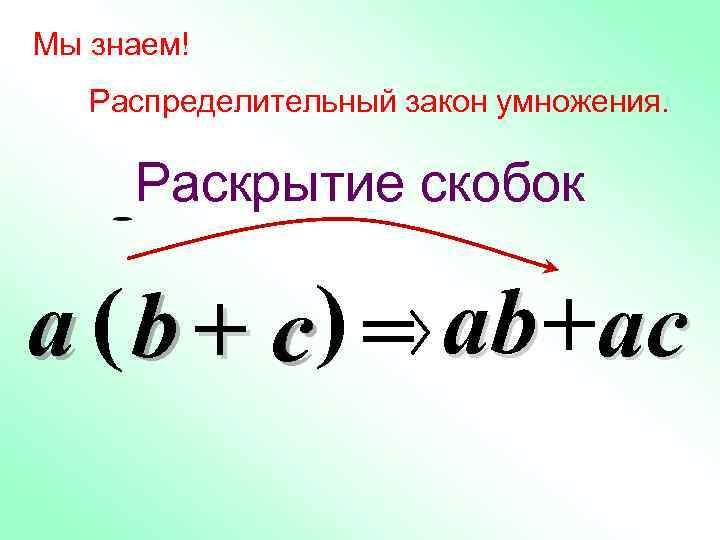 Мы знаем! Распределительный закон умножения. Раскрытие скобок a ( b + c ) =