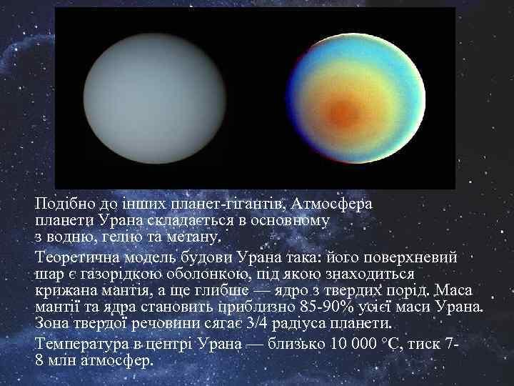 Подібно до інших планет-гігантів, Атмосфера планети Урана складається в основному з водню, гелію та
