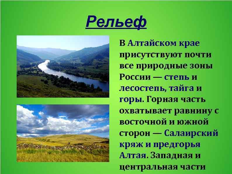 Рельеф В Алтайском крае присутствуют почти все природные зоны России — степь и лесостепь,