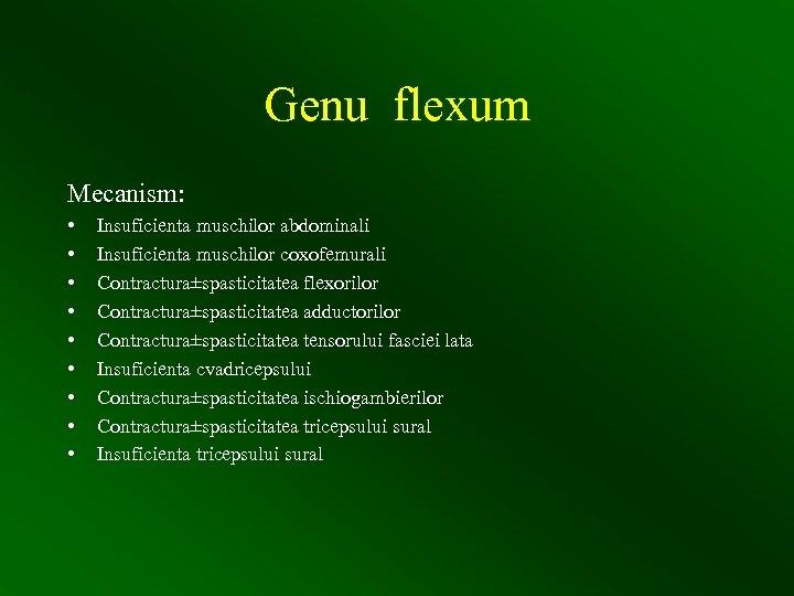 Genu flexum Mecanism: • • • Insuficienta muschilor abdominali Insuficienta muschilor coxofemurali Contractura±spasticitatea flexorilor