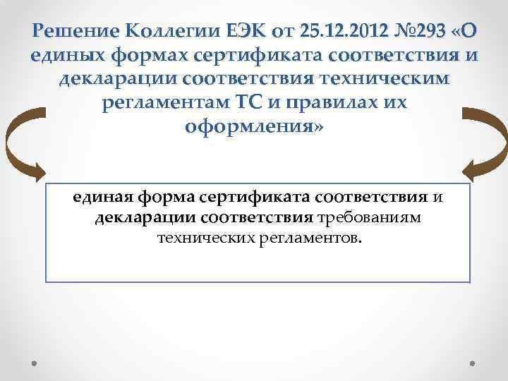 Решение Коллегии ЕЭК от 25. 12. 2012 № 293 «О единых формах сертификата соответствия