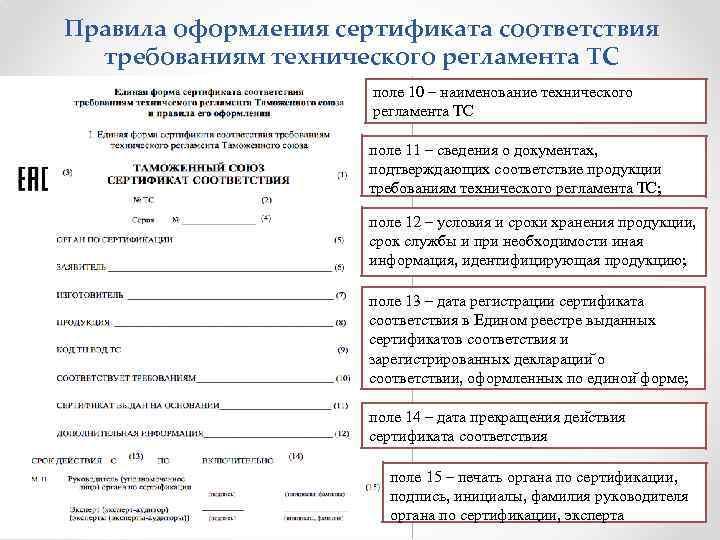 Правила оформления сертификата соответствия требованиям технического регламента ТС поле 10 – наименование технического регламента