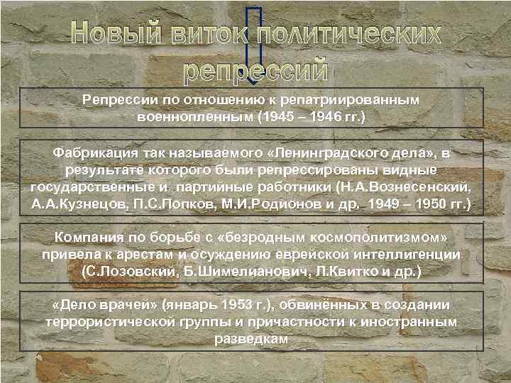 Новый виток политических репрессий Репрессии по отношению к репатриированным военнопленным (1945 – 1946 гг.