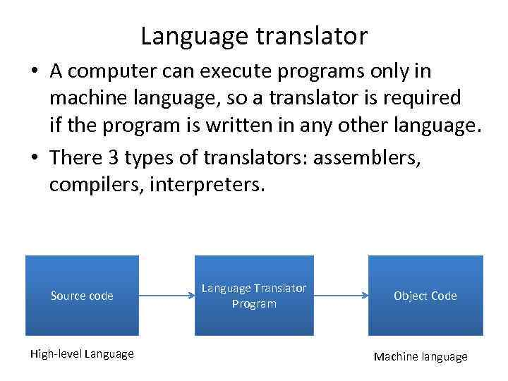 Language translator • A computer can execute programs only in machine language, so a