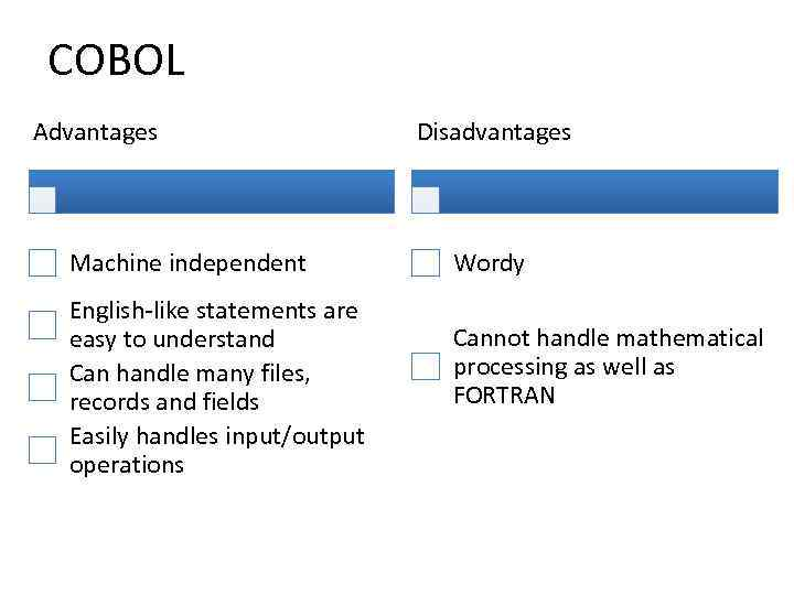 COBOL Advantages Machine independent English-like statements are easy to understand Can handle many files,