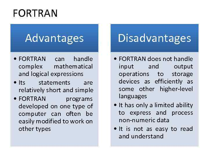 FORTRAN Advantages Disadvantages • FORTRAN can handle complex mathematical and logical expressions • Its
