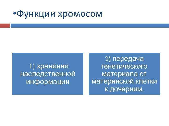 • Функции хромосом 1) хранение наследственной информации 2) передача генетического материала от материнской