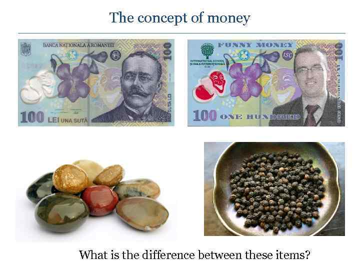 The concept of money What is the difference between these items?