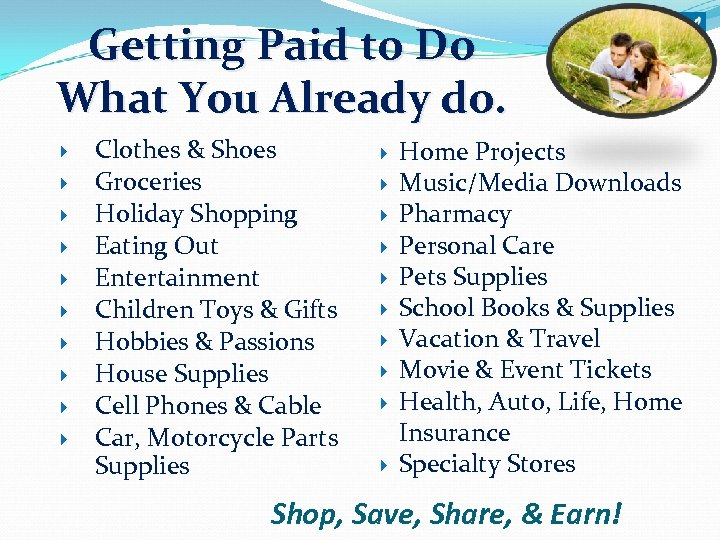 Getting Paid to Do What You Already do. Clothes & Shoes Groceries Holiday Shopping