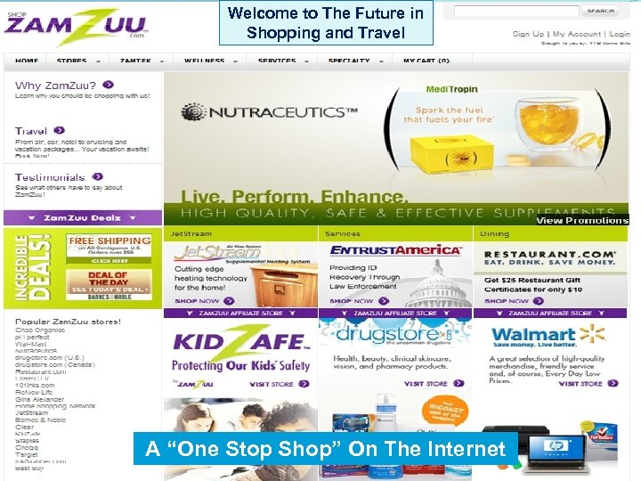 """Welcome to The Future in Shopping and Travel A """"One Stop Shop"""" On The"""