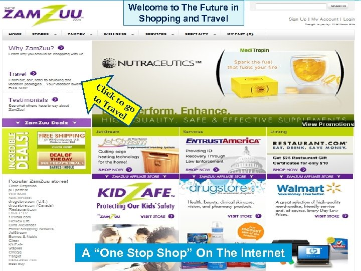 Welcome to The Future in Shopping and Travel Cl ic to k to Tr