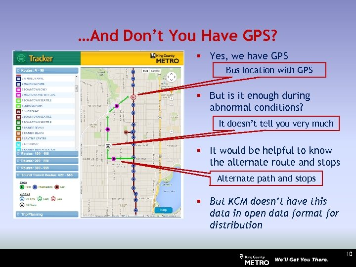 …And Don't You Have GPS? § Yes, we have GPS Bus location with GPS