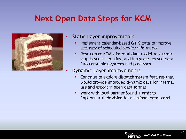 Next Open Data Steps for KCM § Static Layer improvements § Implement calendar-based GTFS