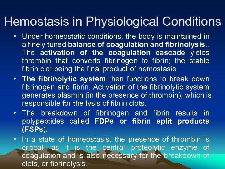 Hemostasis in Physiological Conditions • Under homeostatic conditions, the body is maintained in a